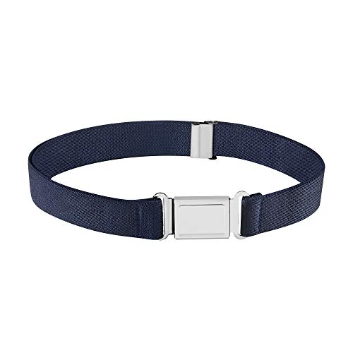 Buyless Fashion Kids Boys Toddler Adjustable Elastic Dress Stretch Belt with Flat Magnetic Buckle - 5099-Navy