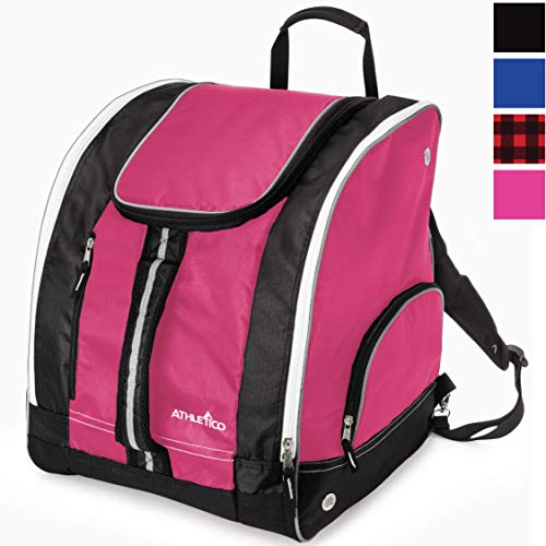 Athletico Ski Boot Bag - Skiing and Snowboarding Travel Luggage - Stores Gear Including Jacket, Helmet, Goggles, Gloves & Accessories - Venting and Grommets for Snow Drainage (Pink)