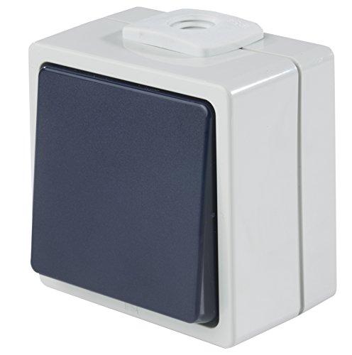 as - Schwabe Aufputzschalter Taster/Wechsler mit 2 Leitungseinführungen, IP 54 Aussenbereich, grau, 62452