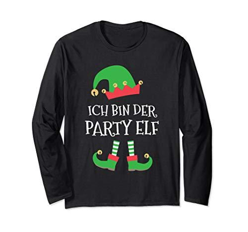 Der Party Elf Kostüm Weihnachtsfeier Bier Schnaps Glühwein Langarmshirt