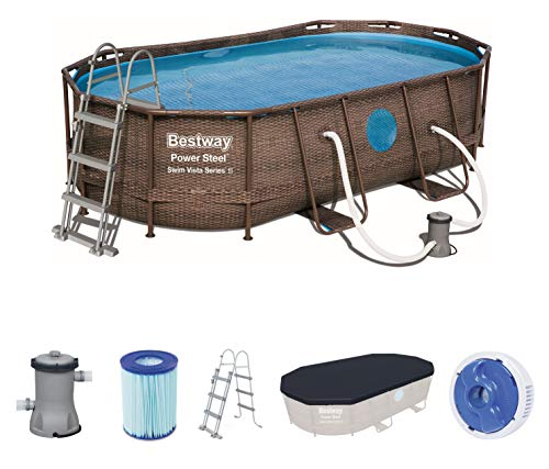 Bestway Power Steel Swim Vista Series Pool Komplett-Set, oval, mit Filterpumpe, Sicherheitsleiter & Abdeckplane 427 x 250 x 100 cm