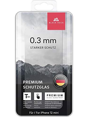 Black Rock - Pellicola protettiva per display in vetro temperato di alta qualità, 0,1 mm, 9H, per Apple iPhone 12 mini, trasparente, trasparente