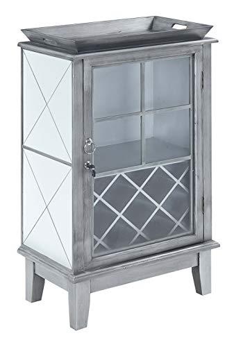 Convenience Concepts Gold Coast Serving Bar, Antique Silver / Mirror