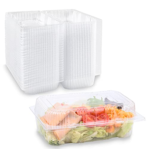 50Pack Disposable Clear Plastic Hinged Food Containers with Lids, Loaf Containers Take Out Hoagie Boxes for Sandwich Cake Salad Pasta Cookies