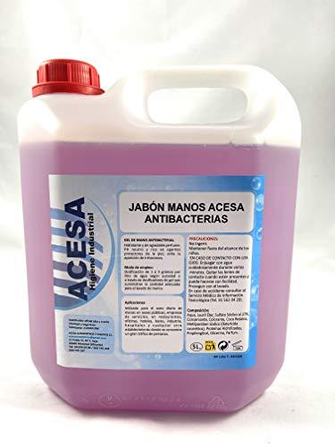 Jabón de Manos Concentrado Antibacterias Hidratante Dermoprotector Aroma Lavanda pH Neutro ACESA Formato Industrial 5 litros.