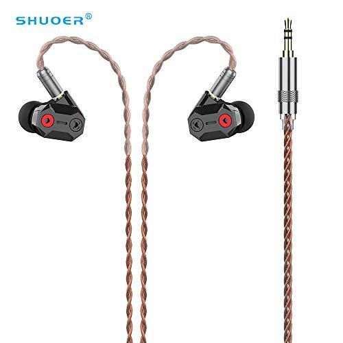 Shuoer In-Ear-Monitor, Shuoer Tape IEM Kopfhörer/Kopfhörer Carbon Dynamic Drive In-Ear-Kopfhörer, Klangleistung für Musiker Audiophile mit abnehmbarem MMCX Kabel (kein Mikrofon)