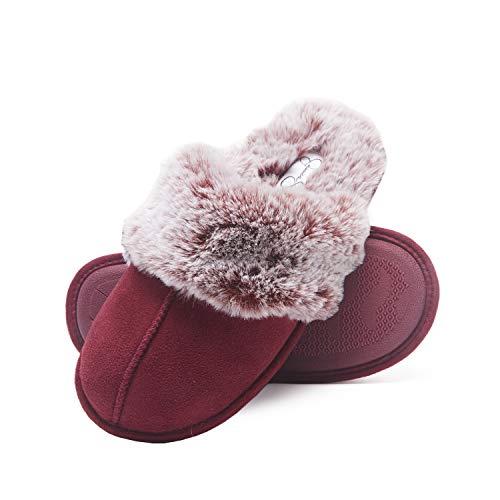 Jessica Simpson womens Comfy Faux Fur House Scuff Memory Foam on Anti-skid Sole Slipper, Burgundy, Medium US