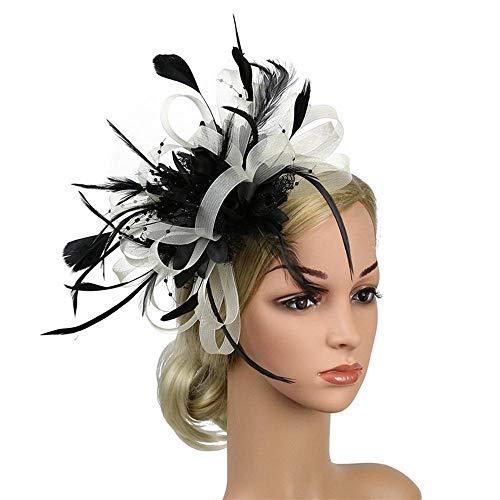 Feather Headdress Women Fascinators Clip Ladies Day Races Wedding Party Bridal Tiara-White_Black