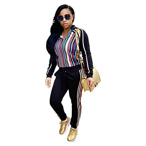 ELEAMO vrouwen 2 stuks outfits regenboog strepen sweatuits voor vrouwen sportpak hoodie lange mouwen rits jas en broek sets racksuits casual jas joggingpakken