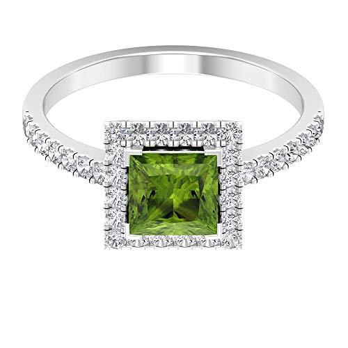 1.15 Ct 6mm Peridot Engagement Ring, HI-SI Diamond Halo Wedding Ring, Solitaire August Birthstone Ring, Princess Cut Gemstone Ring, Cocktail Ring, 14K White Gold, Size:UK R