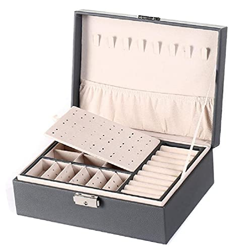 Fugift Protable Travel PU doble capa joyería caja expositor pendientes anillos collares almacenamiento titular mujeres niñas regalos