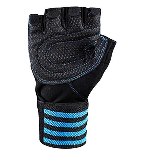 Detrade Reiten Sport Fitness Berg Fahrrad rutschfest Handschuh Mountainbike Halbfinger-Armband Anti-Rutsch-Handschuhe (L, Blue)
