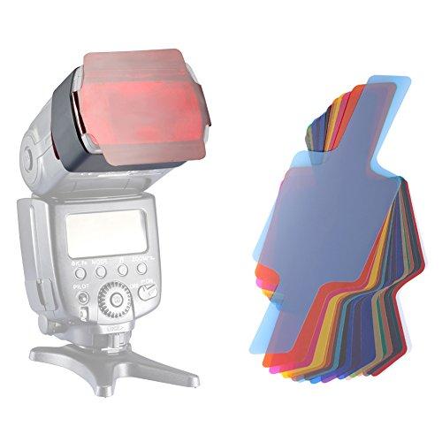 Neewer® Universal 20 Stück Farbfolien Blitz Gele farbige Beleuchtungs Gele Farbe Speedlite Filter Set für Canon Nikon Sony Pentax Olympus Metz und alle Arten von Blitzen für Digitalkamera