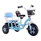 Tricycle Tandem Children's Tricycle with Storage Bin, Double Seat Pedal Bicycle Can Carry People, Riding Toys, for 2 3 4 Years Old and Up Boys Girls