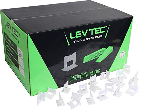 RTC Products LevTec 1/16 Inch Bathroom/Kitchen Tile & Flooring Plastic Leveling Gapping Clips for use with LevTec Wedges, 2000 Count