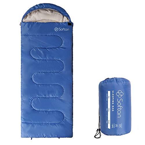 Softan Saco de dormir resistente al agua para 4 estaciones, ultraligero y compacto, ideal para adultos, senderismo, viajes y actividades al aire libre