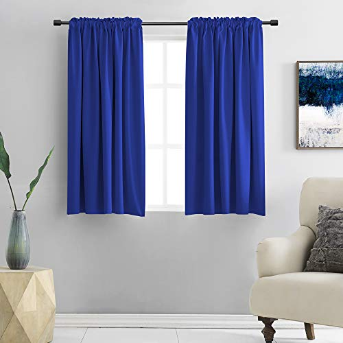 DONREN Royal Blue Blackout Curtain Panels for Bedroom - Thermal Insulated Solid Rod Pocket Curtain Panels (42 x 45 Inches,2 Panels)