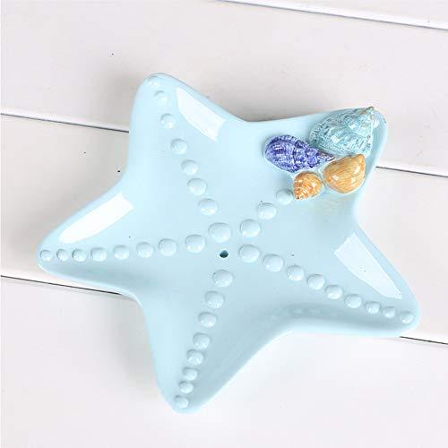 Soporte de plato de jabón con forma de estrella de mar de estilo mediterráneo Soporte de esponja de mesa de cerámica Soportes de esponja for baño, fregadero de cocina, hotel, adornos decorativos