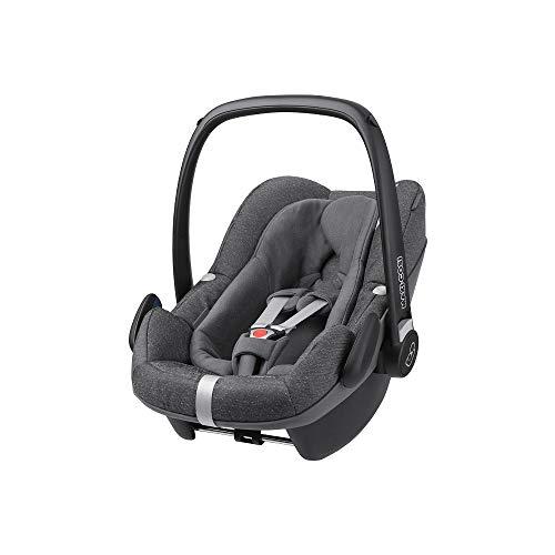 Maxi-Cosi Pebble Plus Babyschale, sicherer Gruppe 0+ i-Size Kindersitz (0-13 kg), nutzbar ab der Geburt bis ca. 12 Monate, passend für FamilyFix One Basisstation, sparkling grey