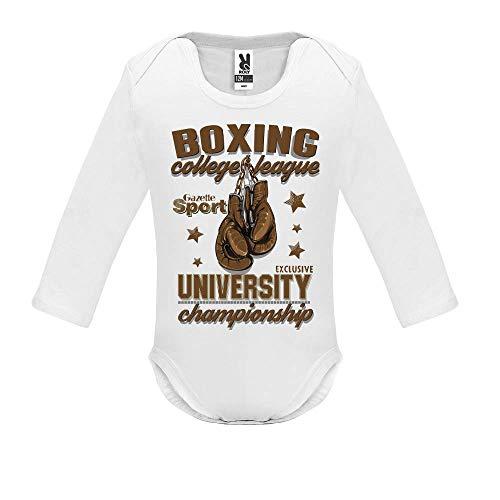 LookMyKase Body bébé - Manche Longue - Boxing League - Bébé Garçon - Blanc - 3MOIS