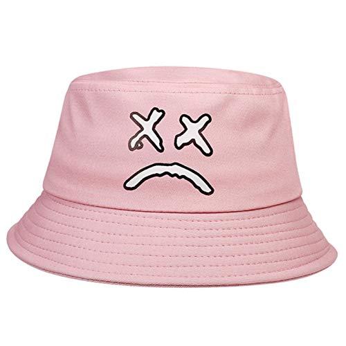 JZDH Moda Cubo de algodón Sombrero Mujeres Hombre Cubo Sombrero Cara Llorando Impresión Cubo Sombreros Pesca al Aire Libre Pesca Pescador Sombreros (Color : Pink)