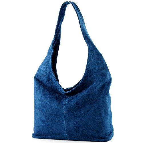 modamoda de - T150 - ital Schultertasche aus Leder Wildleder, Farbe:Jeansblau