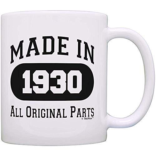 90. Geburtstagsgeschenke für Männer hergestellt 1930 Alle Originalteile Lustige 90. Geburtstagsfeier liefert Geschenk Kaffeetasse Teetasse Weiß
