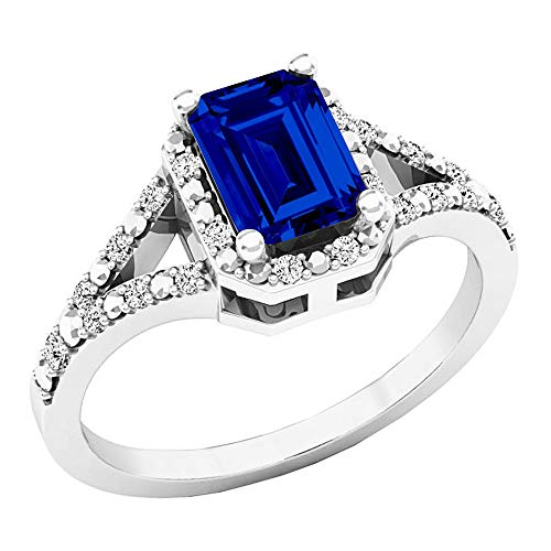 Dazzlingrock Collection Sterling Silver 7X5 MM Lab Created Blue Sapphire & White Diamond Engagement Ring, Size 5.5