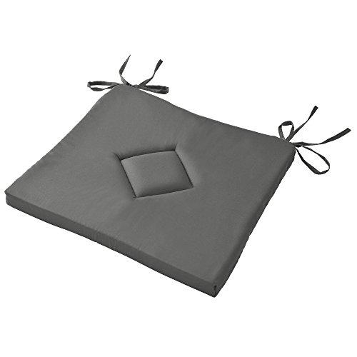 Beautissu Galette de Chaise Kim Confortable coloré Idéal pour intérieur extérieur 40x40x3cm Anthracite