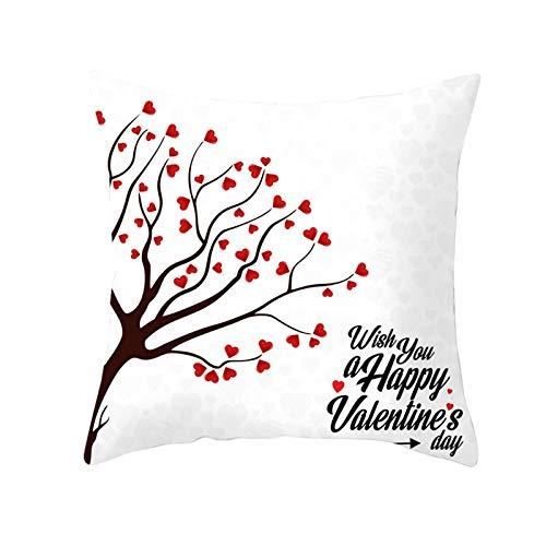Socoz Funda de cojín para sillas, de 50 x 50 cm, con diseño de corazón, árbol y texto en inglés 'Happy Valentine's Day', estilo 30