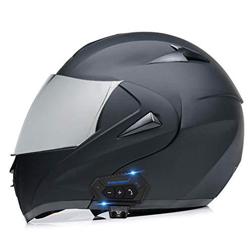 LAMZH Casco de motocicleta Bluetooth para hombres y mujeres, casco de moto con doble visera modular con Bluetooth para adultos, protección (color: negro mate 2, tamaño: S (55)