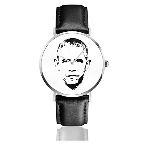 Unisex Business Casual Barack Obama Face Uhren Quarz Leder Uhr mit schwarzem Lederband für Männer Frauen Junge Kollektion Geschenk
