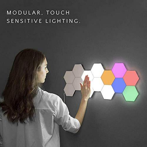 Nachtlichter LED Hexagon Licht Magnetic Modular Touch Wandleuchte Creative Home Decor Farbe Nachtlampe Quantum Light Touch Sensor, 10 Stück bunt, EU