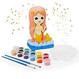 Ulikey Geschenke für Mädchen, Sparschwein-Spardose Meerjungfrau zum Basteln und Malen, Bastelset für Mädchen mit Pinsel, Pigment, Palette, DIY Kreativ Spielzeug für Kinder Geburtstag Weihnachten