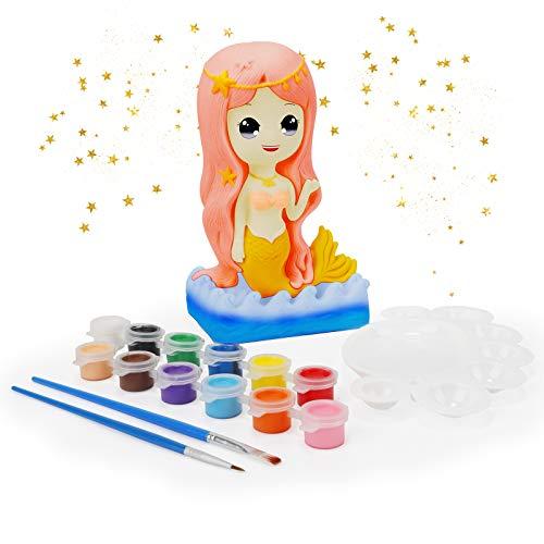 Ulikey Regalos para Niñas, Hucha Sirena para Pintar, Juguete Pintura de DIY, Kit Pintura y Accesorios Infantiles, Pinceles, Colores y Paleta, Regalos para Niñas Cumpleaños y Fiestas