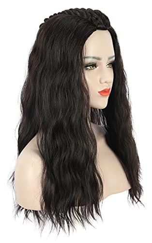 Karlery Adult Women Long Wave Dark Brown Braid Wig Halloween Cosplay Costume Party Wig