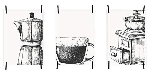 Myprinti® Keukenafbeeldingen, posters, foto's voor de keuken, keukenposter, kunstdruk, moderne wanddecoratie, keuken decoratie, koffiekan, koffiekopje, koffiemolen