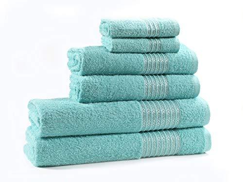 Cloe' Louis - Juego de toallas de baño (6 piezas, 100 % algodón)