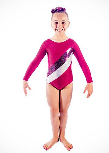Premier Gymwear - Maillot de Gimnasia para niñas, 6 Lycra con Holograma y Rayas metálicas, Gym/6, 36 (Adult Medium)