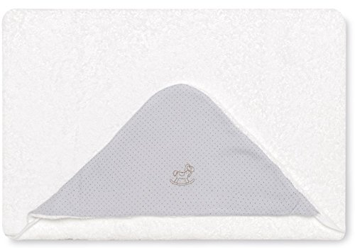 Bimbi 00705130 – Maxicapa Motif Dots, 100 x 100 cm, blanc et gris