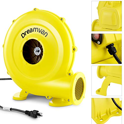 DREAMVAN Air Blower for Inflatables- Inflatable Blower- 750 Watt, 1HP Bounce House Blower for Jumper, Bouncy Castle Yellow Electric Air Pump Fan Commercial Blower