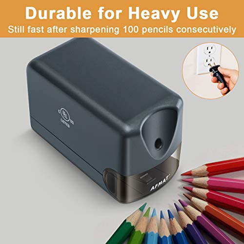 AFMAT Electric Pencil Sharpener Heavy Duty, Classroom Pencil Sharpener Plug in for 6.5-8mm No.2/Colored Pencils, UL Listed Professional Pencil Sharpener w/Stronger Helical Blade, Premium Gray Photo #2
