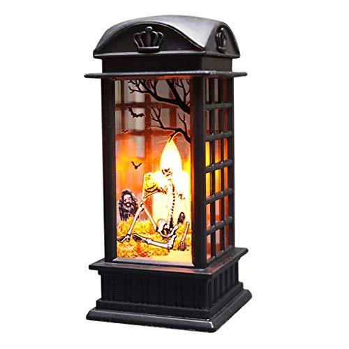 TEBI Decoración de Halloween Vintage Bruja Calabaza Calavera LED viento luz colgante lámpara