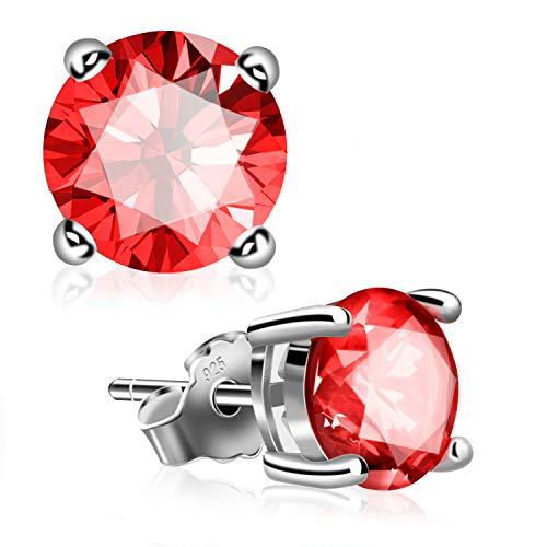 Stud Earrings, UHIBROS Sterling Silver Birthstone Round Cubic Zirconia Diamond Earrings (July-Ruby)