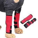 犬用 リハビリ 用品 小型犬 中型 大型犬 サポーター 足首 関節 プロテクター (後ろ脚用) 老犬介護 介護用品 調節可能 舐め防止 3色 レッド S