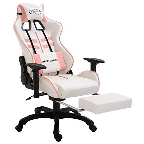 vidaXL Gamingstuhl mit Fußstütze Bürostuhl Computerstuhl Schreibtischstuhl Drehstuhl Chefsessel Sportsitz Rosa PU Liegefunktion Höhenverstellbar Ergonomisch