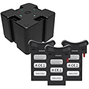 Holy Stone 4 in 1 Battery Charging Hub with 3pcs 3.7V 1000mAh Modular Rechargeable Li-po Battery for RC Quadcopter Drone HS110D Black