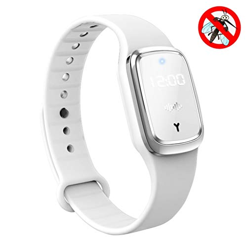 Ultrasonic Mosquito Repellent Bracelet Watch with LED Time Display, USB Rechargeable Smart Waterproof Anti Mosquito Insect Pest Bugs Wristband for Kids Adult, Best Travel/Camping Gift