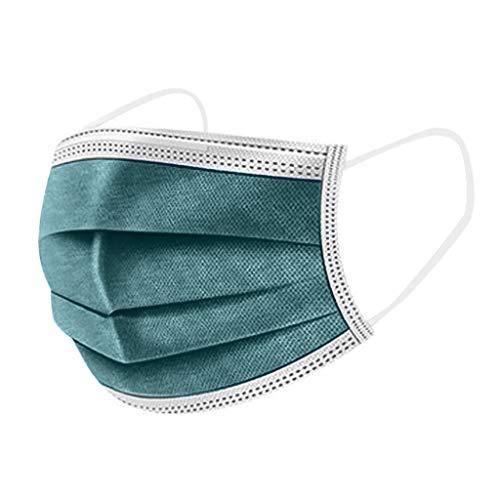Lulupi 10-100 Stück Einweg Mundschutz Erwachsene Einmal Mund-Nasenschutz Bedeckung Einfarbige Atmungsaktive Bandana Mundbedeckung Multifunktionstuch Halstuch(100pcs,Grün)