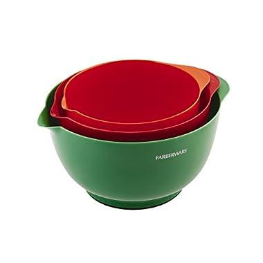 Farberware Classic Plastic Mixing Bowls, Set of 3, Green/Red/Orange, Small - 5083275